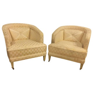 Hollywood Regency Dorothy Draper Style Lounge Chairs - A Pair