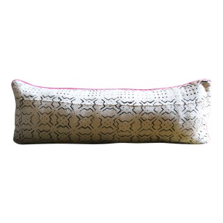 Mudcloth Lumbar Pillow With Neon Trim
