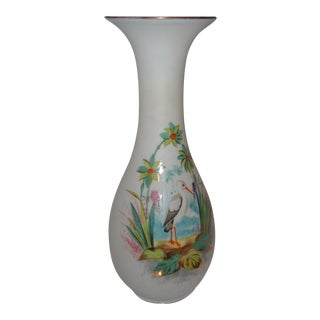 Bristol Glass Vase with Bird & Flowers
