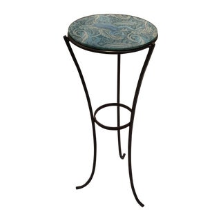 Glass Top Metal Accent Table With Frog