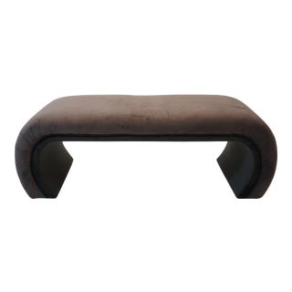 Charcoal and Black Velvet Waterfall Bench