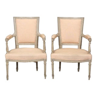 Antique 1900 Louis XVI Style Armchairs - a Pair