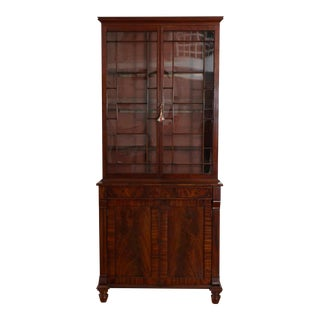 Stepback Cabinet a Deux Corps with Glass Doors