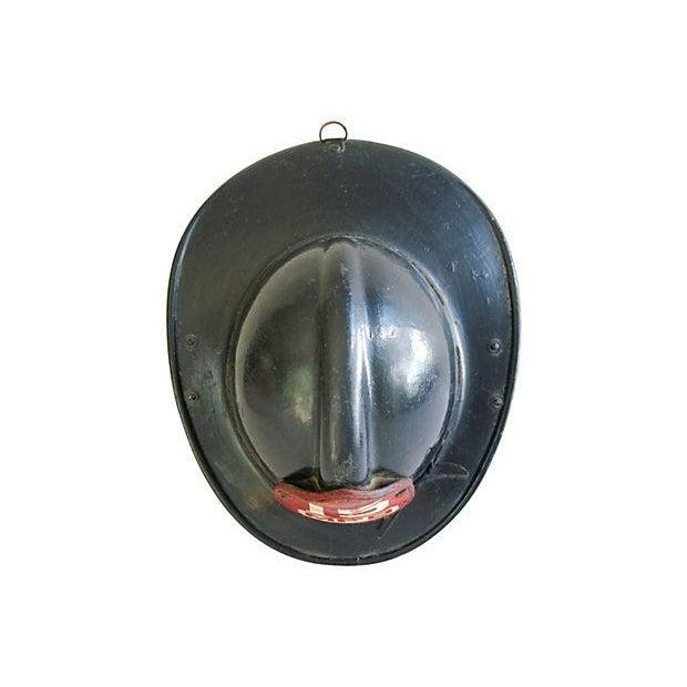 Original Leather Fireman Helmet w/Badge - Image 6 of 7