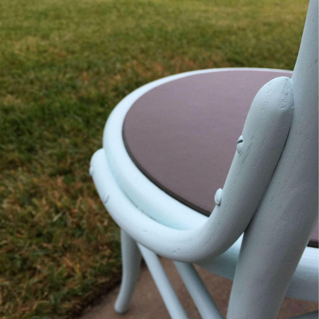 Image of Vintage Turquoise & Gray Faux Leather Cafe Chair