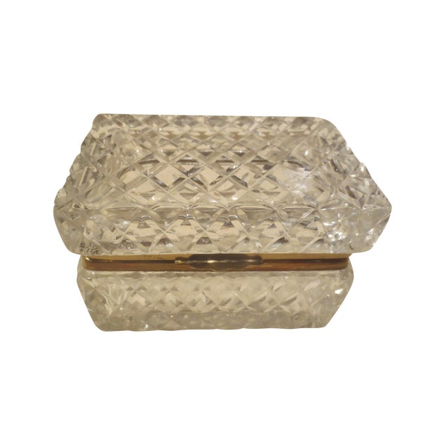 Large Cut Glass & Brass Antique French Vanity Box - Image 1 of 7