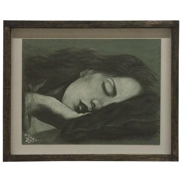 Sleeping Women Pastel Drawing Signed W. Gray - Image 1 of 6