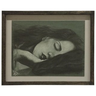 Sleeping Women Pastel Drawing Signed W. Gray