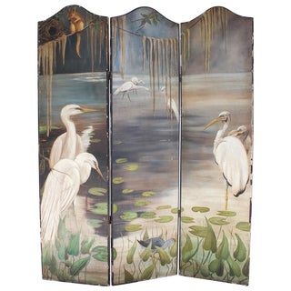 Antique Painted Screen With Louisiana Bayou Scene