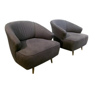 Mid-Century Gray Linen Club Chairs - A Pair