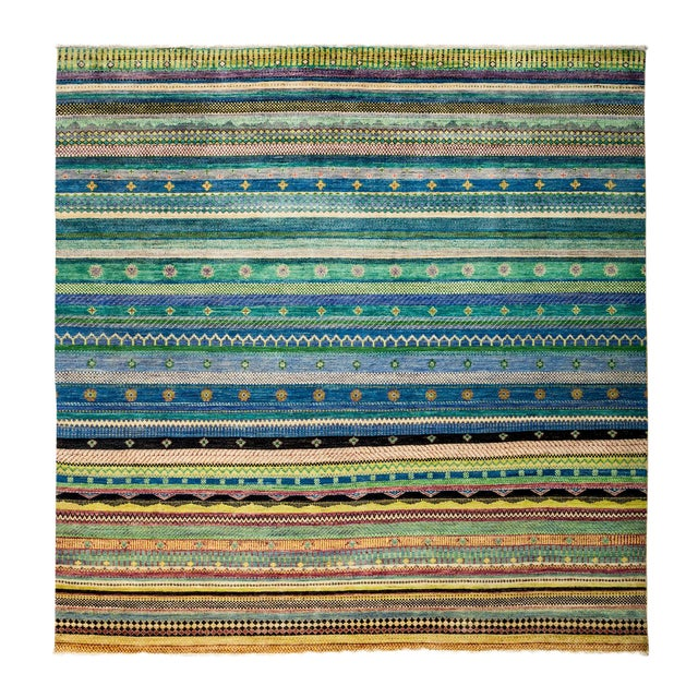 "New Hand-Knotted Striped Tribal Rug - 8'1"" X 8'2"" - Image 1 of 3"