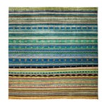 "Image of New Hand-Knotted Striped Tribal Rug - 8'1"" X 8'2"""