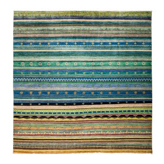 """New Hand-Knotted Striped Tribal Rug - 8'1"""" X 8'2"""""""