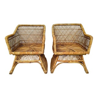 Vintage Rattan Armchairs - a Pair