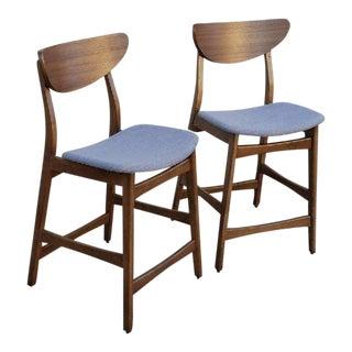 Mid-Century Modern Style Walnut Bar Stools - A Pair