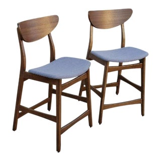 Mid-Century Modern Style Walnut Counter Stools - A Pair