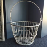 Image of Vintage White Metal and Wire Basket