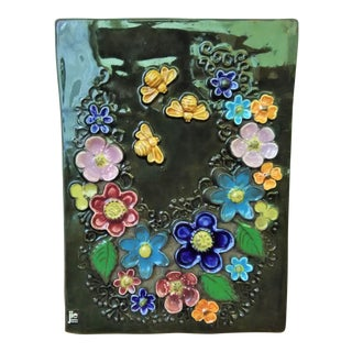 Mid-century Jie Gantofta Sweden Floral Wall Plaque Hand-Painted Tile