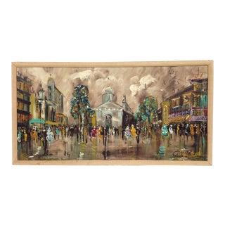 Mid-Century Cafe De Paris Original Impressionist Oil Painting