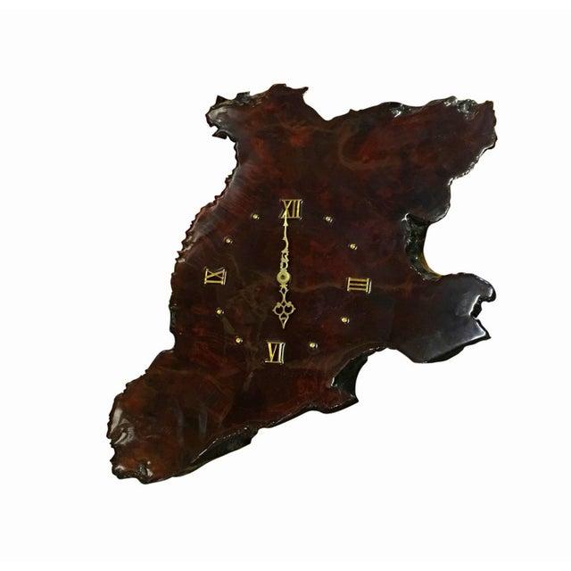 Image of Mid-Century 1960s Burled Wood Slab Wall Clock