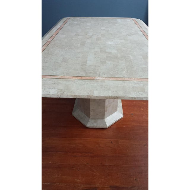 Image of Tessellated Fossil Stone Pedestal Dining Table