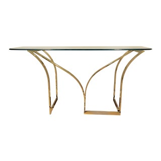 Vintage 1970s Brass & Glass Console Table