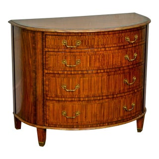 Beacon Hill Satin Wood Hand Painted Decorated Demilune Chest of Drawers