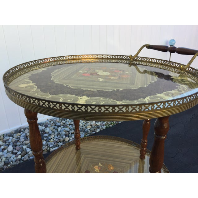 Vintage Sorrento Italian Lacquered Marquetry Bar Cart - Image 7 of 8