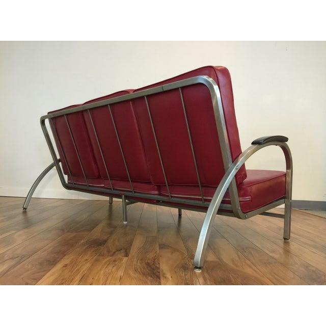 Royal Metal Art Deco Style Red Vinyl Sofa Chairish