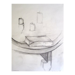 Book & Burned Out Candles 2006 Graphite Drawing
