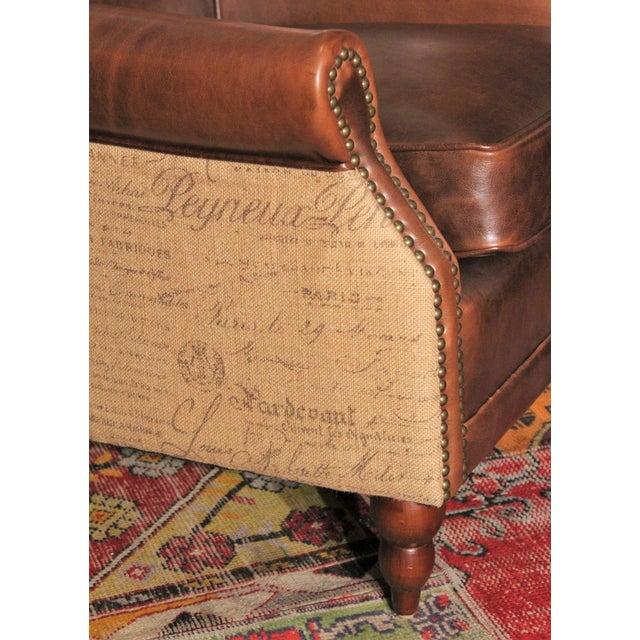 Leather Amp Burlap Script Chair Chairish