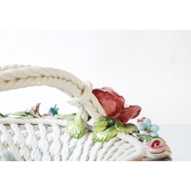 Image of Italian Capodimonte Porcelain Flower Basket