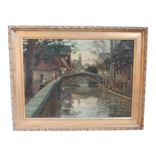Amsterdam Canal Scene Oil Painting