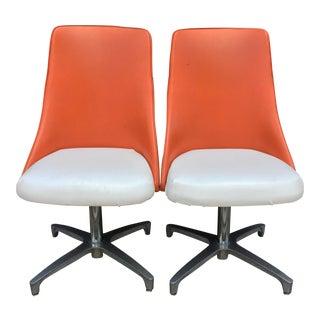 Mid-Century Modern White & Orange Chairs - A Pair