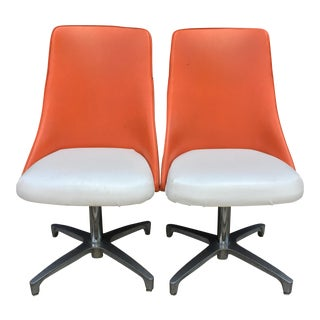 Mid-Century Modern White & Orange Chairs - A Pair