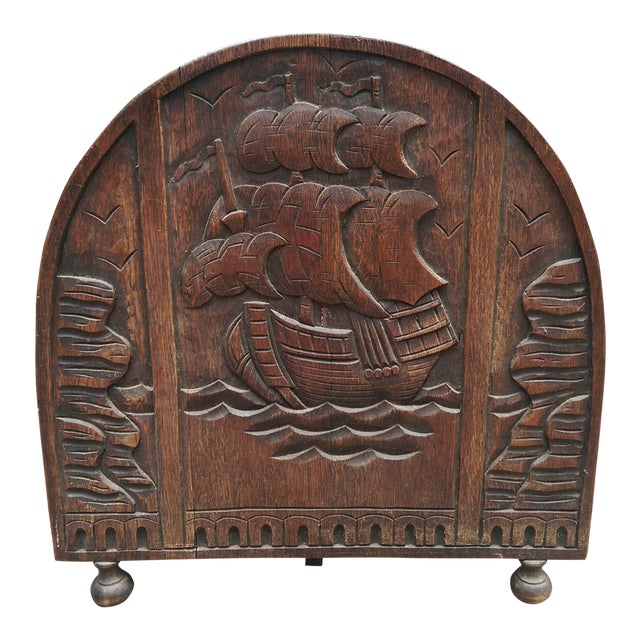 Antique Solid Wood Carved Nautical Ship Fire Screen - Image 1 of 9