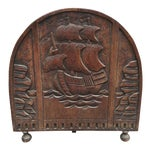 Image of Antique Solid Wood Carved Nautical Ship Fire Screen