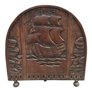 Antique Solid Wood Carved Nautical Ship Fire Screen