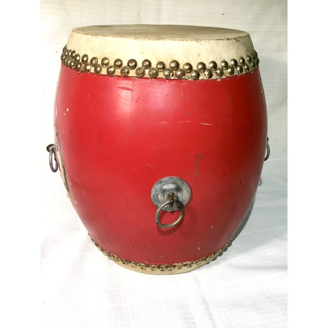 Vintage Red Lacquer Chinese Festival Drum - Image 2 of 5