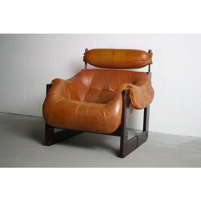 Percival Lafer Rosewood Tan Leather Lounge Chair - Image 5 of 11