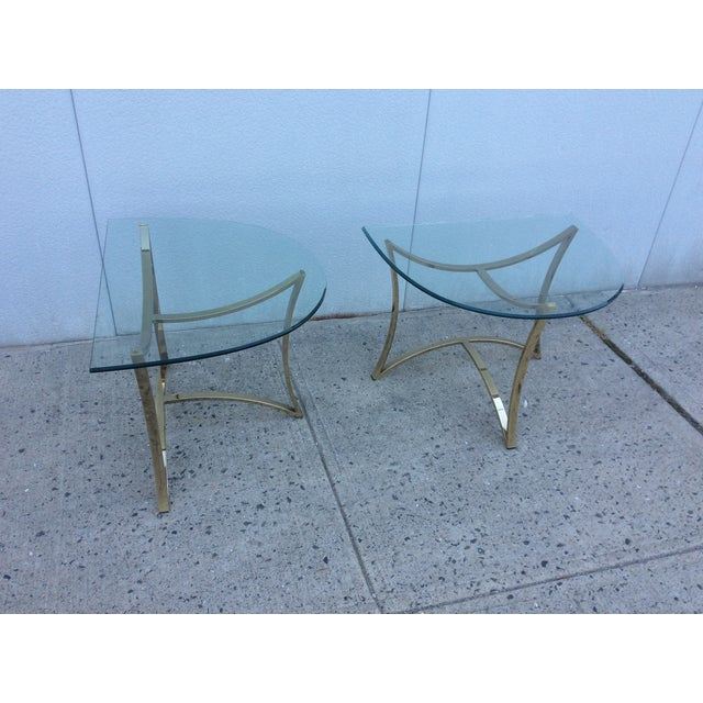 1970's Modern Demi Lune Brass Side Tables - Image 5 of 11