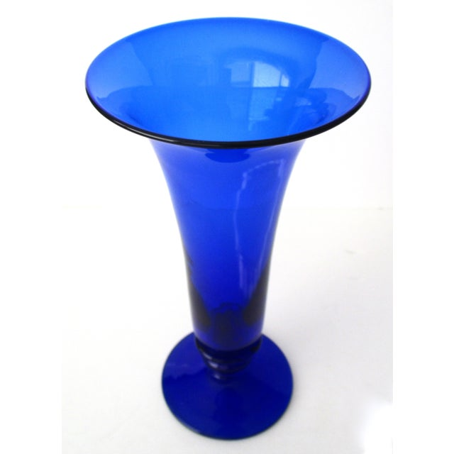 Image of Cobalt Blue Glass Trumpet Vase