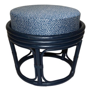 Vintage Mid-Century Bentwood Rattan Ottoman Navy Upholstered W/ John Robshaw for Durablee