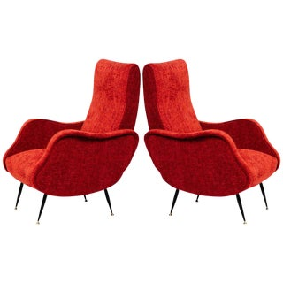 Italian Mid-Century Modern Lounge Chairs in the Manner of Marco Zanuso