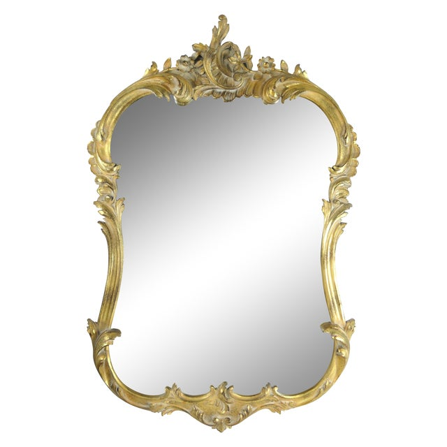 French rococo style gilded mirror chairish for Gilded baroque mirror