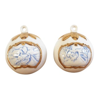 Vintage Gold Accented & Embossed Ceramic Ornaments - A Pair