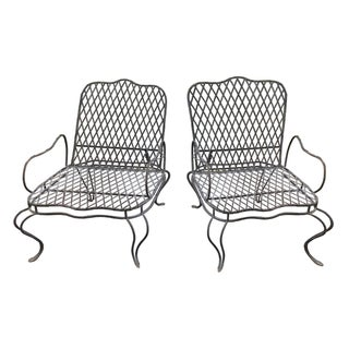 Rose Tarlow Twig Iron Garden Lounge Chairs - A Pair