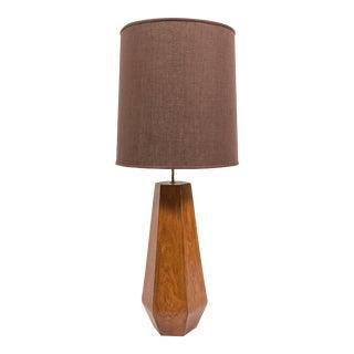 Sculptural Walnut Table Lamp