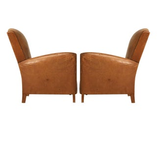 Pair French Leather Club Chairs, circa 1930s