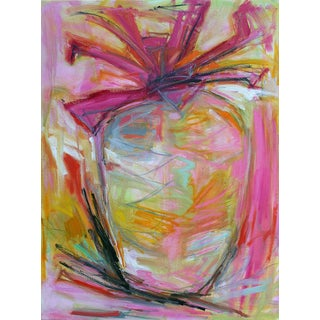 "Trixie Pitts' Fun Large ""Pink Pineapple"" Abstract Painting"